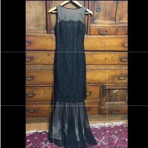 BCBGMaxAzria black sheer lace long dress